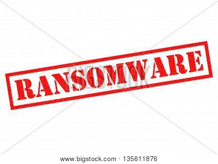 RANSOMWARE red Rubber Stamp over a white background.