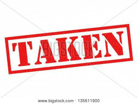 TAKEN red Rubber Stamp over a white background.