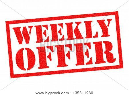 WEEKLY OFFER red Rubber Stamp over a white background.