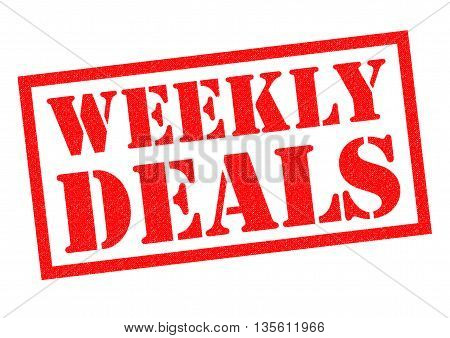 WEEKLY DEALS red Rubber Stamp over a white background.