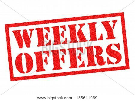 WEEKLY OFFERS red Rubber Stamp over a white background.