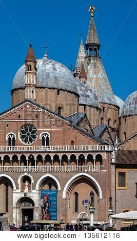 PADUA ITALY - APRIL 23 2016: Basilica of Saint Anthony of Padua completed in 1310 is one of the eight international shrines recognized by the Holy Seeis. It is a popular place of pilgrimage.