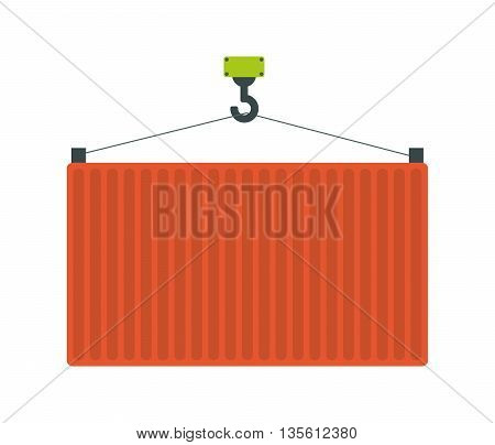 Delivery and shipping concept represented by crane tool icon over isolated and flat background