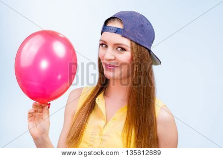 Happy Teenage Girl With Red Balloon.