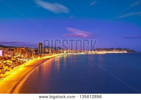 Benidorm sunset Poniente beach in Alicante Mediterranean of Spain