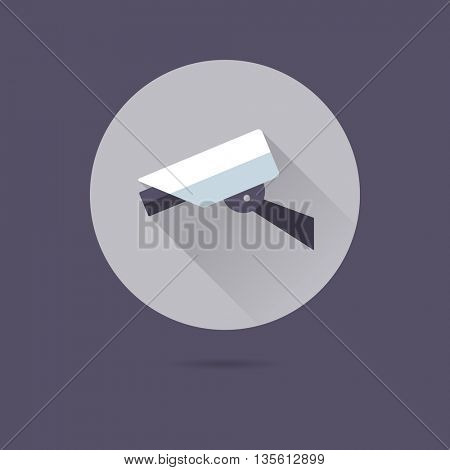 security camera flat design long shadow vector icon