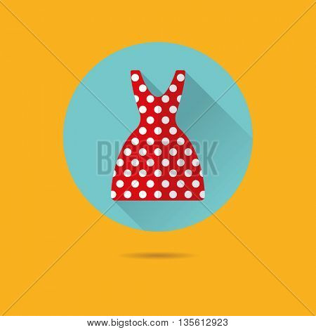 summer dress with polka dots flat design long shadow vector icon