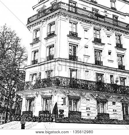 Apartments, Champ de Mars, Paris, France, Europe, Line drawing generated from photograph.