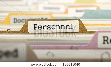 File Folder Labeled as Personnel in Multicolor Archive. Closeup View. Blurred Image. 3D Render.