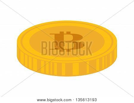 Bitcoin concept represented by coin icon over isolated and flat background