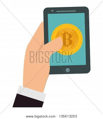 Bitcoin concept represented by coin and smartphone icon over isolated and flat background