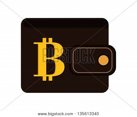 Bitcoin concept represented by wallet icon over isolated and flat background