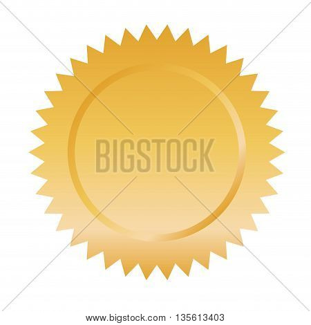 label element concept represented by gold seal stamp icon over isolated and flat background