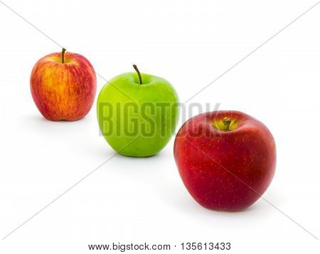 Three Colors Apples Varieties (New Zealand Eve Granny Smith Ambrosia) Isolate on White Background with Clipping Path