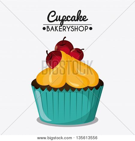 Decorated Cupcake with bakery cream design. Colorfull and isolated illustration