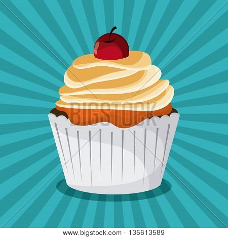 Decorated Cupcake with bakery cream design. Colorfull and striped illustration
