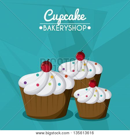 Decorated Cupcake with bakery cream design. Colorfull illustration