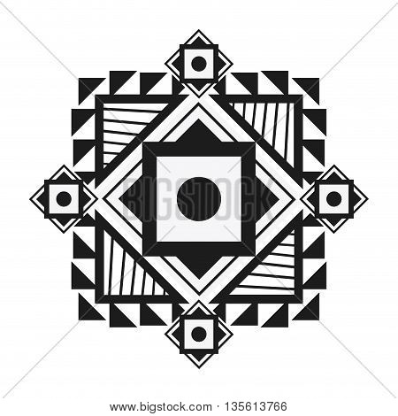 tribal represented by black and abstract ethnic shape design, isolated and flat illustration