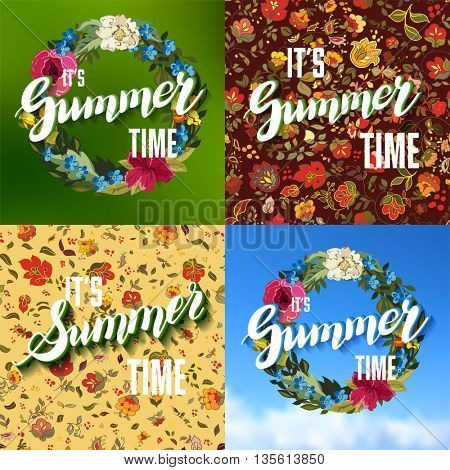 Vector Set of Colorful Bright Lettering Summer Cards. Beautiful Summer Posters or Flyers with Flower Pattern and Floral Wreath and Hand Written Text. Vector Illustration.