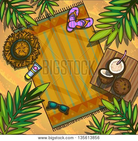 Summer beach background card poster design. Vector illustration