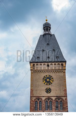 Clock tower in Germany on a cloudy day