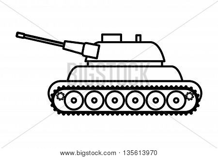 Armed forces concept represented by tank icon over isolated and flat background