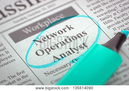 Network Operations Analyst - Jobs in Newspaper, Circled with a Azure Highlighter. Blurred Image. Selective focus. Job Seeking Concept. 3D Rendering.