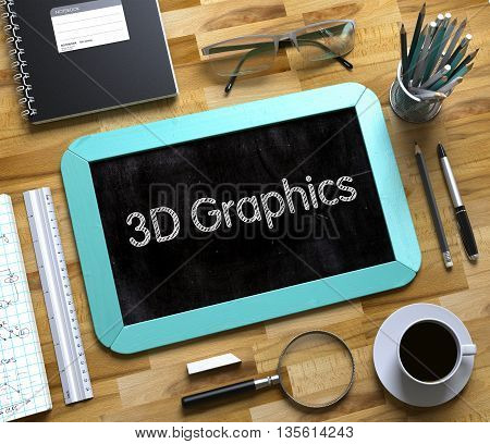 3D Graphics Concept on Small Chalkboard. Mint Small Chalkboard with Handwritten Business Concept - 3D Graphics - on Office Desk and Other Office Supplies Around. Top View. 3d Rendering.