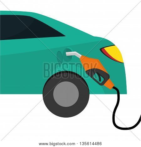Gasoline station concept represented by car icon over isolated and flat background
