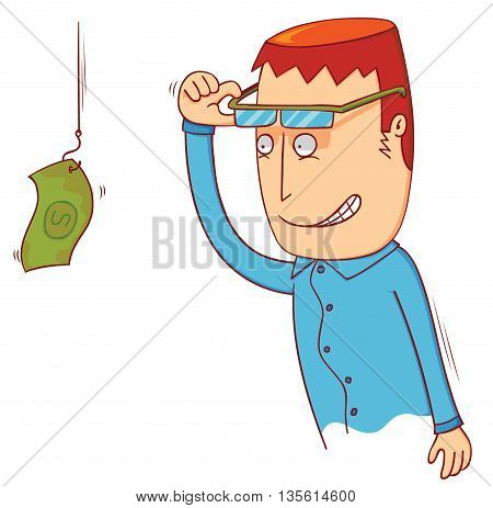 illustration of a man see hanging money
