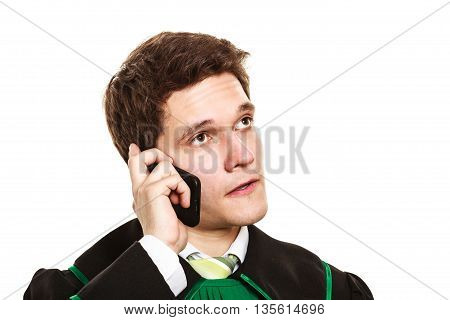 Technology and career legal advice. Young male lawyer make phone call talk help give advice.