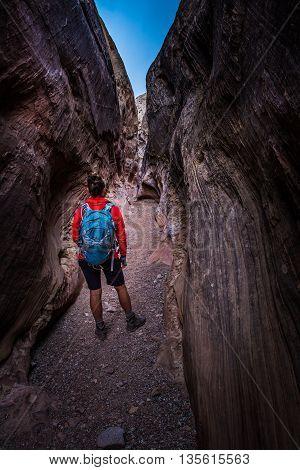Hiking Slot Canyon Utah