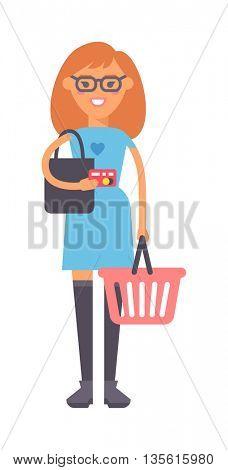 Girl with basket vector illustration.