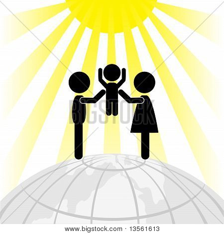 Silhouette Of Family On A Round Earth