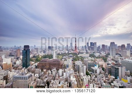 skyline and cityscape in romance sky