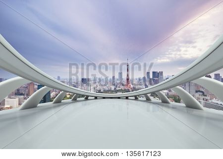 skyline and cityscape of tokyo in romance sky on view from abstract window