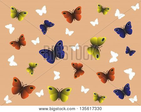 Butterfly pattern with orange, yellow, blue and white butterflies on the beige background.