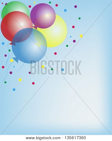 Invitation card with multicolored balloons. Background. Confettis.