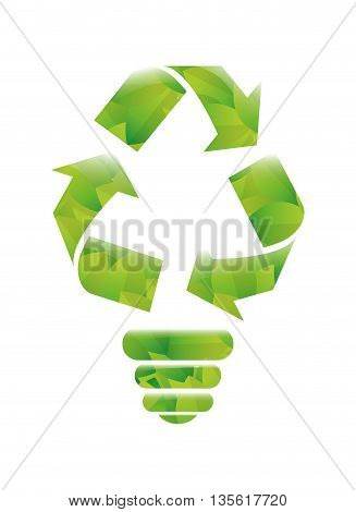 Think green concept represented by light bulb icon over isolated and flat background