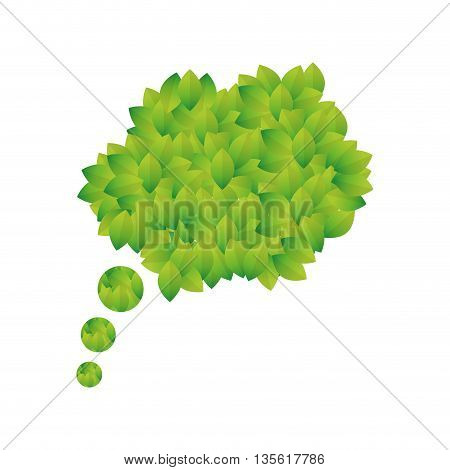 Think green concept represented by bubble icon over isolated and flat background