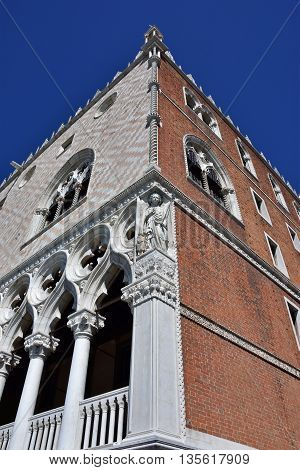 Doge's Palace in Venice two different facades with white stone and red brick