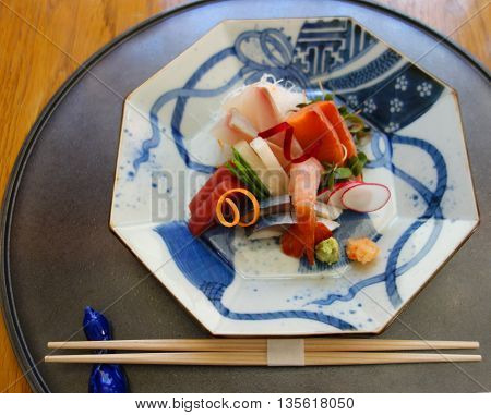 Sashimi dish served for lunch in gourmet restaurant.