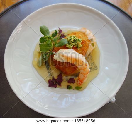 Seafood dish served for lunch in gourmet restaurant