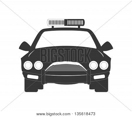 Justice and law represented by policecar over isolated and flat background