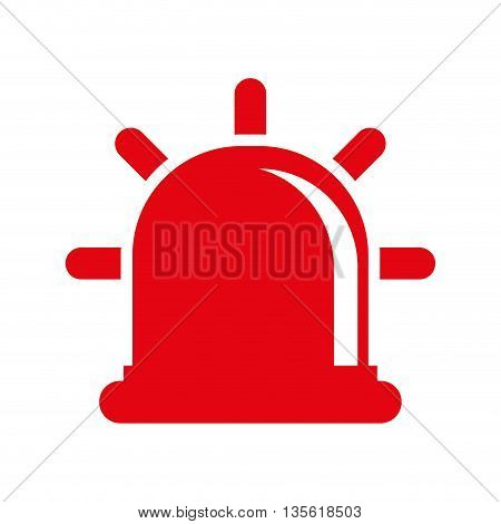 Justice and law represented by red alarm over isolated and flat background