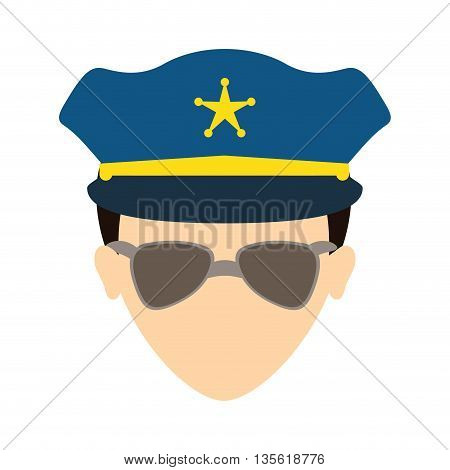 Justice and law represented by policeman over isolated and flat background