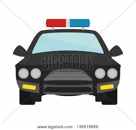 Justice and law represented by police car over isolated and flat background