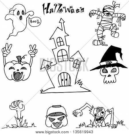 Doodle Halloween castle pumpkins zombie a very scary illustration