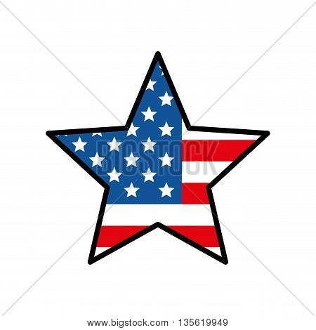 USA concept represented by star icon over isolated and flat background