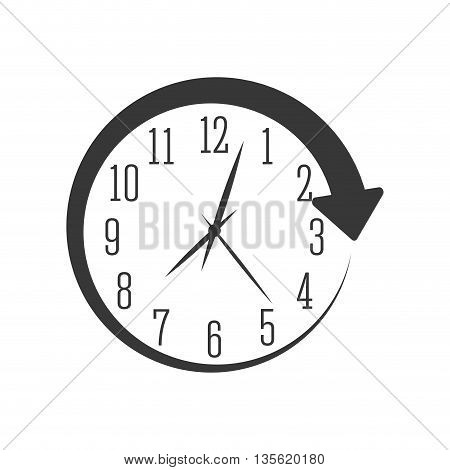 Time concept represented by traditional clock with arrow icon over isolated and flat background